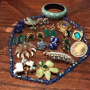 Lot of green and blue vintage to newer jewelry